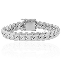 14K White Gold Cuban Link Bracelet 16mm