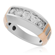 14k Rose Gold Two-Tone 1.12ct Mens Diamond Ring