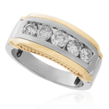 14k Yellow Gold Two-Tone 1.25ct Mens Diamond Ring