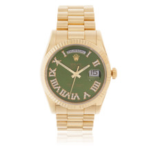 Rolex Day Date 18k Yellow Gold Green Face Watch