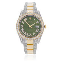 Rolex DateJust 18k Yellow Gold Two-Tone 17ct Diamond Green Face Watch Front