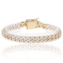 14k Yellow Gold 8.5ct Diamond Cuban Bracelet
