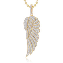 Yellow Silver with White Sapphire Wing Pendant
