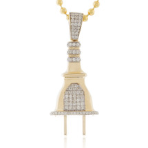 10k Yellow Gold 1.75ct Diamond Plug Pendant