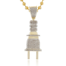 10k Yellow Gold .75ct Diamond Plug Pendant