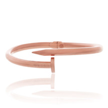 10k Rose Gold Hollow Nail Bracelet