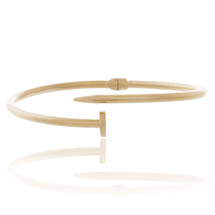 10k Yellow Gold Thin Hollow Nail Bracelet