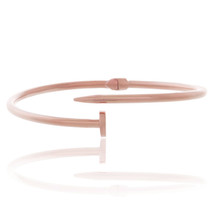10k Rose Gold Thin Hollow Nail Bracelet