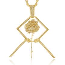 10k Yellow Gold Custom Rose Diamond Pendant