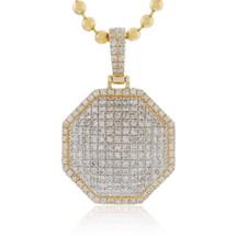 10k Yellow Gold 2.75ct Diamond Octagon Pendant Front