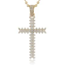 14k Yellow Gold 3.55ct Diamond Cross Pendant