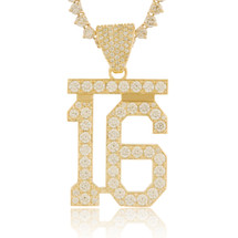 10k Yellow Gold Custom Diamond '16' Pendant