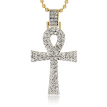 14k Yellow Gold 2.00ct Diamond Ankh Pendant