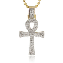14k Yellow Gold 1.00ct Diamond Ankh Pendant Front