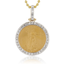 14k Yellow Gold 1.00ct Pure Coin Diamond Pendant