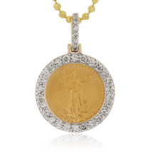 14k Yellow Gold .94ct Pure Coin Diamond Pendant
