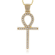 14k Yellow Gold 3.36ct Diamond Ankh Pendant
