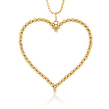 10k Yellow Gold Ball Chain Heart Pendant