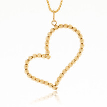 10k Yellow Gold Ball Chain Crooked Heart Pendant