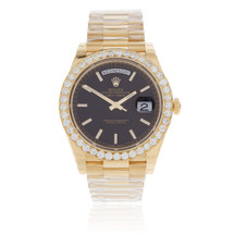 Rolex Day-Date 40 President 3.1ct Diamond Bezel Automatic Men's Watch
