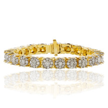 14k Yellow Gold 16.25ct Diamond Tennis Bracelet