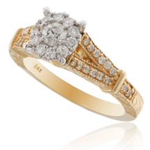 14K Yellow Gold .74ct Diamond Engagement Ring