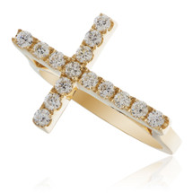 14K Yellow Gold .53ct Diamond Cross Ring