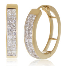 14k Yellow Gold 1.75ct Princess Diamond Cut Hoops