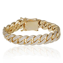 14k Yellow Gold 12ct Diamond Cuban Bracelet