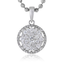 14k White Gold .75ct Diamond Luna Pendant