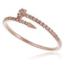 14k Rose Gold .20ct Diamond Nail Ring