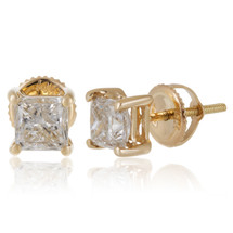 14k Yellow Gold 1.50ct Princess Cut Diamond Solitaire Stud Earrings