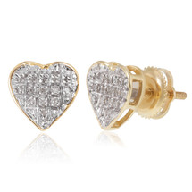 10k Yellow Gold .10ct Diamond Heart Stud Earrings