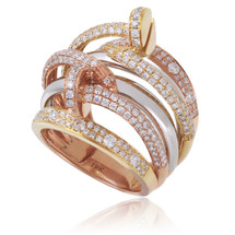 18K Gold Tri-Color 2.11ct Diamond Ring