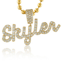 14k Yellow Gold Custom Diamond 'Skyler' Name Pendant