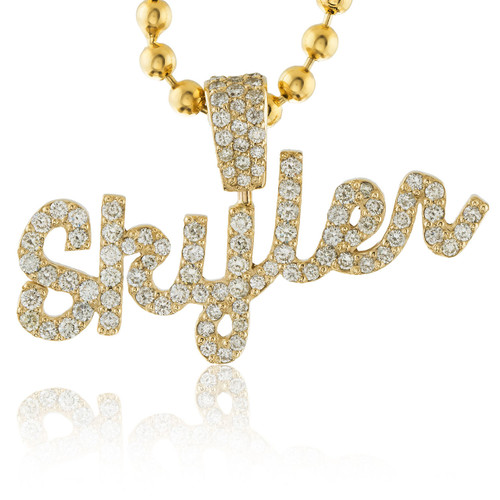 14k yellow gold custom diamond skyler name pendant shyne jewelers image 1 aloadofball