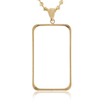 14k Yellow Gold Gold Bar Bezel Pendant