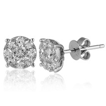 14k White Gold .75ct Diamond Cluster Studs