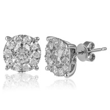 14k White Gold 2.00ct Diamond Cluster Studs