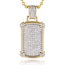10k Yellow Gold 3.22ct Diamond Fancy DogTag Pendant