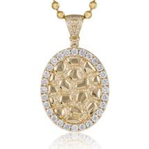 14k Yellow Gold 2.39ct Diamond Oval Design Pendant