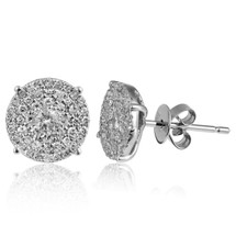 14k White Gold .46ct Diamond Cluster Stud Earrings