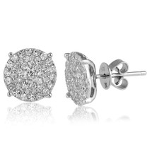 14k White Gold .77ct Diamond Cluster Stud Earrings