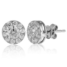 14k White Gold 1.00ct Diamond Cluster Stud Earrings