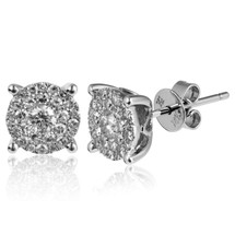 14k White Gold .56ct Diamond Cluster Stud Earrings