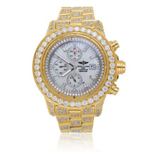 Breitling 1884 Chronometre Automatic Gold Plated Stainless Steel 15ct Diamond Watch