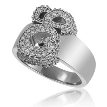 14K White Gold Custom Diamond 'E' Ring