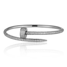 18k White Gold 2.5ct Diamond Nail Bracelet