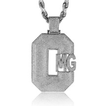10k White Gold Custom Diamond 'CMG' Pendant