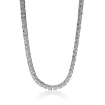 14k White Gold 52.05ct Cluster Diamond Tennis Chain